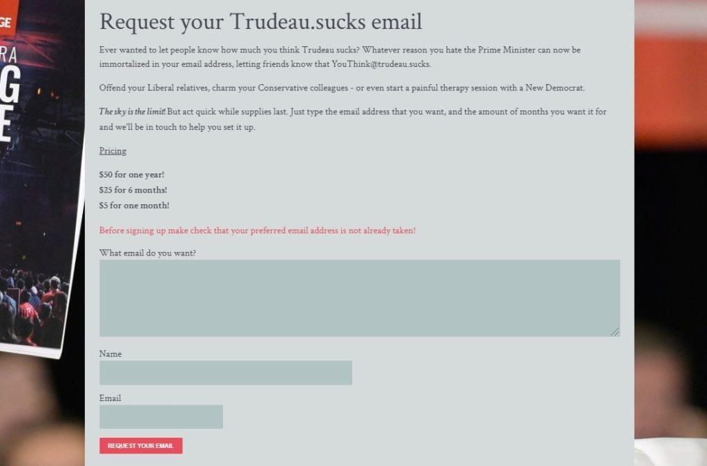 Screenshot of Trudeau.Sucks email request