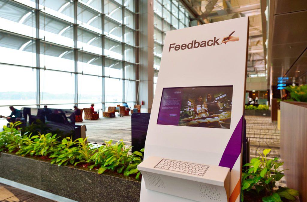Feedback kiosk at international airport